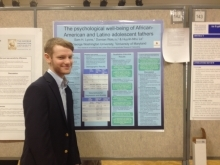 One of our undergraduate research assistants presenting at GW Research Days 2014